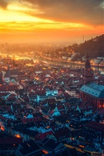 Preview iPhone wallpaper Heidelberg castle, Germany, beautiful city night, houses, river, lights, sunset