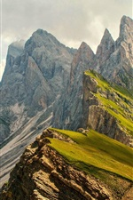 Preview iPhone wallpaper High mountains, slope, clouds, nature landscape