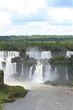Preview iPhone wallpaper Iguazu Falls, beautiful nature landscape, waterfalls, boats