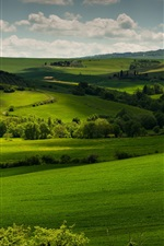 Preview iPhone wallpaper Italy, Tuscany, green fields, trees, clouds, dusk