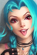 Preview iPhone wallpaper Jinx, League of Legends, blue hair girl