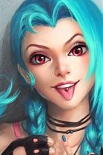 Jinx, League of Legends, cabelo azul menina