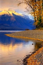 Preview iPhone wallpaper Lake, trees, sands, mountains, clouds, autumn