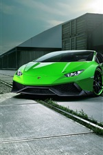Preview iPhone wallpaper Lamborghini Huracan Spyder green supercar front view, night, city