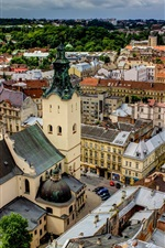Preview iPhone wallpaper Latin Cathedral, Ukraine, city, roof, houses, clouds