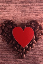 Preview iPhone wallpaper Love heart, coffee beans, romantic