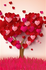 Preview iPhone wallpaper Love hearts tree, pink and red, romantic style