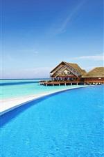 Preview iPhone wallpaper Maldives, hotel, pool, resort, sea