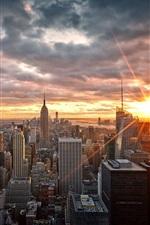 Preview iPhone wallpaper Manhattan, New York, USA, skyscrapers, dawn, sunrise