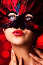 Masquerade, mask, feathers, make-up girl, red lip