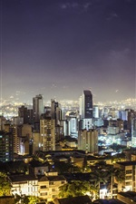 Preview iPhone wallpaper Medellin, Republic of Colombia, city night, buildings, lights