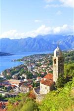 Montenegro, cidade, casas, baía, rio, montanhas