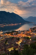 Preview iPhone wallpaper Montenegro, evening, bay, city, mountains, houses, lights