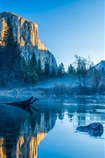 Preview iPhone wallpaper Mountains, lake, trees, sky, fog, dawn