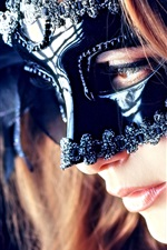Preview iPhone wallpaper Mysterious girl, mask, eyes, mouth