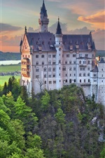 Preview iPhone wallpaper Neuschwanstein castle, Germany, Bayern, trees, dusk, clouds