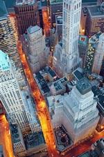Preview iPhone wallpaper New York, Manhattan, USA, night, lights, skyscrapers