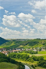 Preview iPhone wallpaper Norheim, Germany, houses, slope, trees, river, clouds