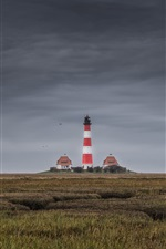 Preview iPhone wallpaper North Sea, Westerhever, lighthouse, Germany