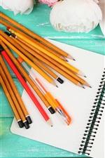 Pencils, notebook, tea, flowers
