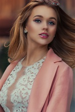 Preview iPhone wallpaper Pink dress fashion girl, hair flying in wind