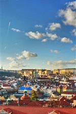 Preview iPhone wallpaper Prague, Czech Republic, city, buildings, houses, clouds