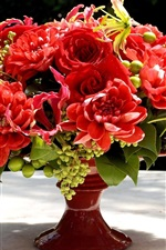 Preview iPhone wallpaper Red flowers, bouquet, vase