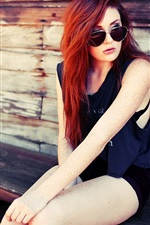 Preview iPhone wallpaper Red hair fashion girl sit at chair