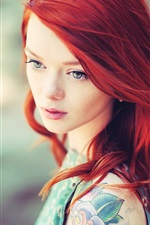 Preview iPhone wallpaper Red hair girl, tattoos, blur background