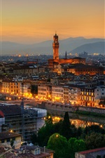 Preview iPhone wallpaper Roman Empire, city night, buildings, houses, lights, Florence, Italy