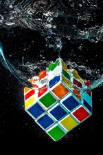 Rubik's cube falling in water