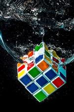 Preview iPhone wallpaper Rubik's cube falling in water