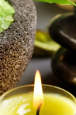 Preview iPhone wallpaper SPA themed, candle, flame, stones, bowl, green crystals