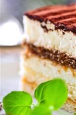 Preview iPhone wallpaper Snack, tiramisu, sweet cake, chocolate, mint, breakfast