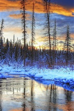 Snow, winter, mountains, trees, river, sunset