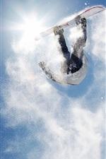 Preview iPhone wallpaper Snowboard backflip, snow splash