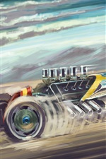 Preview iPhone wallpaper Sports car and aircraft, art painting