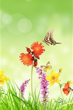 Preview iPhone wallpaper Spring, flowers, grass, butterfly, green background, creative design