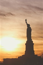 Preview iPhone wallpaper Statue of Liberty, sunset, sea, American