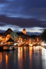 Preview iPhone wallpaper Strasbourg, France, night, river, houses, lights