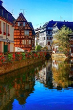 Preview iPhone wallpaper Strasbourg, France, river, flowers, restaurant, houses