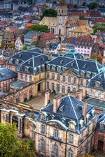 Strasbourg, travel to France, city top view, houses, street