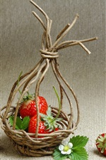 Preview iPhone wallpaper Strawberries, basket, twigs