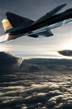 Preview iPhone wallpaper Su-37 aircraft flight in sky, clouds
