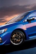 iPhone fondos de pantalla Subaru WRX STI coche azul vista lateral