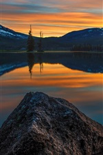 Preview iPhone wallpaper Sunset, lake, water reflection, mountains, trees