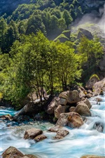 Preview iPhone wallpaper Switzerland nature landscape, waterfall, rocks, trees, forest