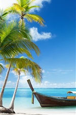 Preview iPhone wallpaper Thailand, beach, palms trees, sea, boat