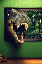 O dinossauro enfiou a cabeça para fora da imagem