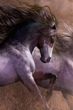 Preview iPhone wallpaper Three horses running, grass